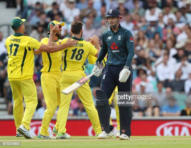 Australia celebrate after Michael Neser dismisses England's Alex Hales during the 1st Royal London ODI between England and Australia at The Kia Oval...