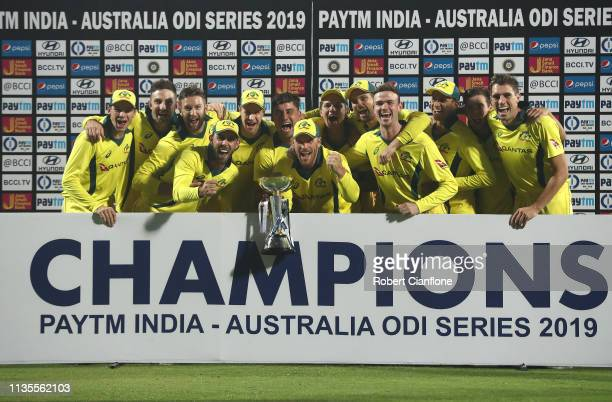 Australia celebrate after they defeated India during game five of the One Day International series between India and Australia at Feroz Shah Kotla...