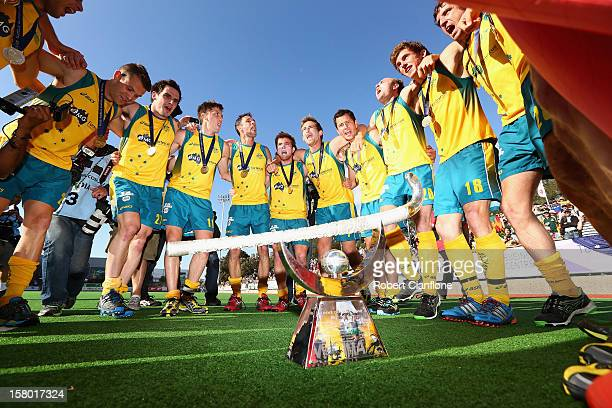 Australia celebrate after they defeated the Netherlands in the final of the 2012 Champions Trophy at State Netball Hockey Centre on December 9 2012...