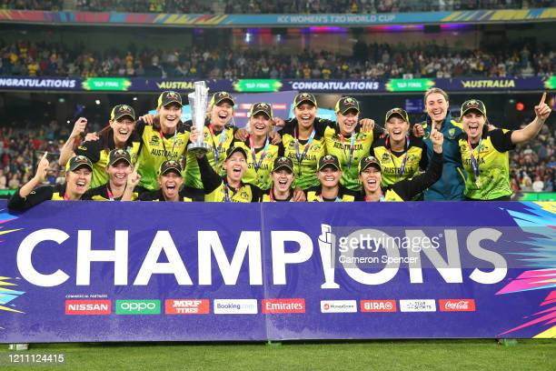Australia celebrate after winning the ICC Women's T20 Cricket World Cup Final match between India and Australia at the Melbourne Cricket Ground on...