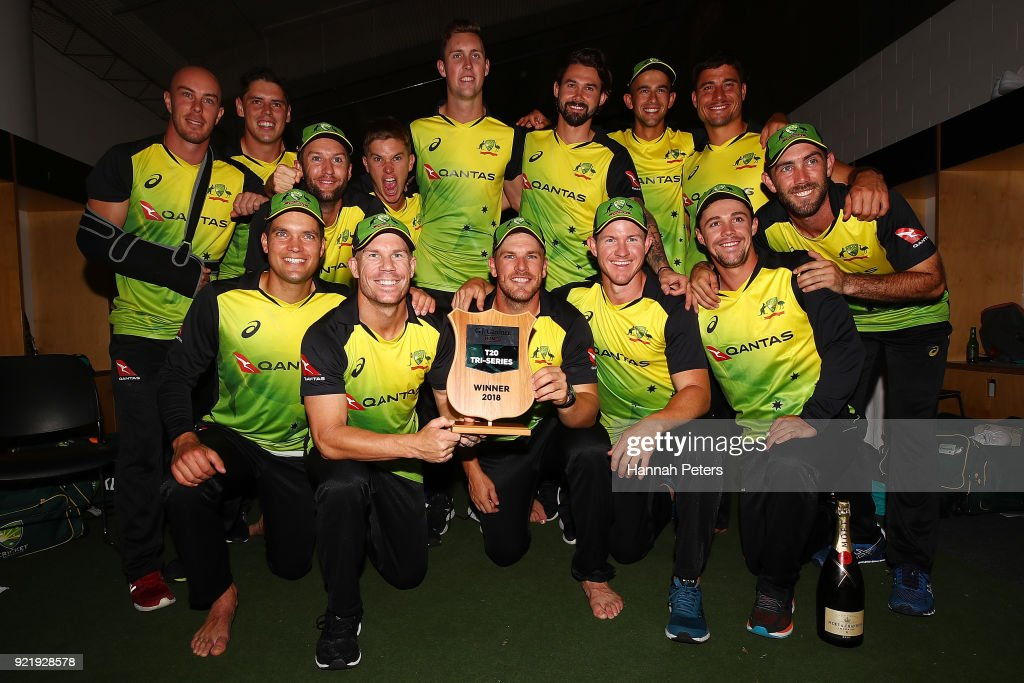 Australia celebrate after winning the International Twenty20 Tri Series Final match between New Zealand and Australia at Eden Park on February 21, 2018 in Auckland, New Zealand.