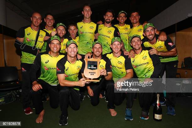 Australia celebrate after winning the International Twenty20 Tri Series Final match between New Zealand and Australia at Eden Park on February 21...