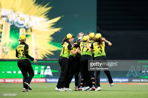 Australia celebrate Annabel Sutherland catching out Shafali Verma of India during the ICC T20 Women's World Cup cricket match between Australia and...