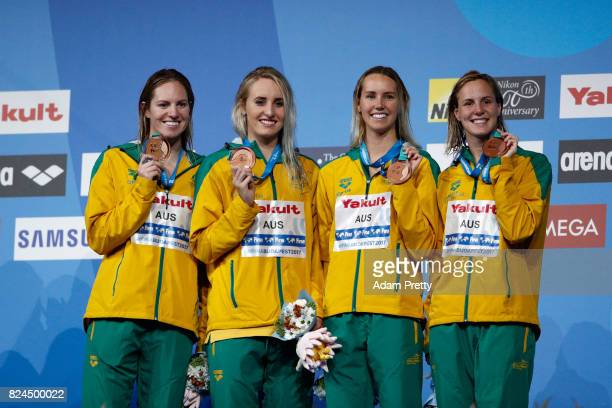 Australia celebrate Bronze in the Women's 4x100m Medley Relay Final on day seventeen of the Budapest 2017 FINA World Championships on July 30 2017 in...
