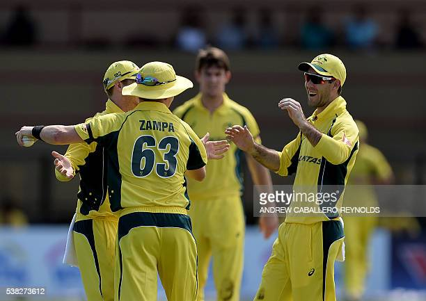 Australia celebrate dismissing The West Indie's Darren Bravo during a Oneday International cricket match between the West Indies and Australia in the...