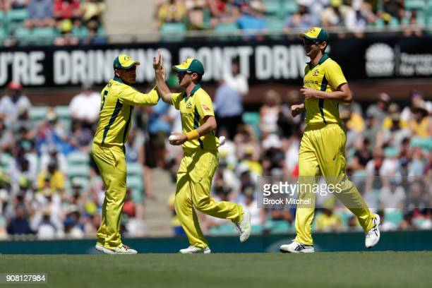 Australia celebrate the wicket of Alex Hales during game three of the One Day International series between Australia and England at Sydney Cricket...