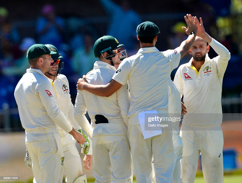 Australia celebrate the wicket of Faf du Plessis (capt) of South Africa during day 4 of the 2nd Sunfoil Test match between South Africa and Australia at St Georges Park on March 12, 2018 in Port Elizabeth, South Africa.