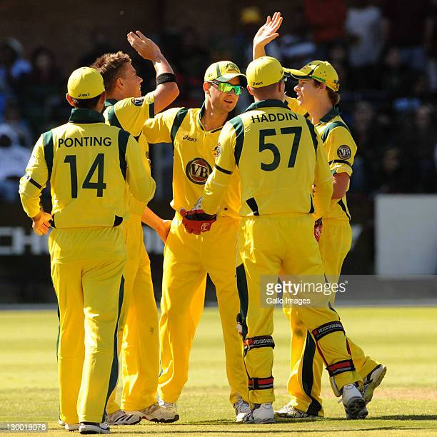 Australia celebrate the wicket of Faf du Plessis of South Africa during the 2nd One Day International match between South Africa and Australia at...