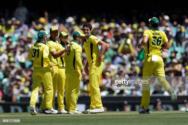 Australia celebrate the wicket of Jason Roy during game three of the One Day International series between Australia and England at Sydney Cricket...