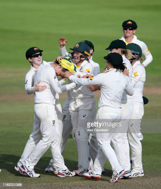 Australia celebrate the wicket of Katherine Brunt of England during Day Three of the Kia Women's Test Match between England Women and Australia Women...