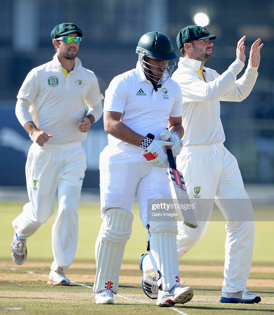 Australia celebrate the wicket of Vaughn van Jaarsveld of South Africa A during day 3 of the 1st Test match between South Africa A and Australia A at Tuks Oval on July 26, 2013 in Pretoria, South Africa.