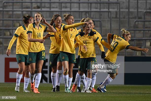 Australia celebrate their 3rd goal of Katrina Gorry of Australia during the AFC Women's Olympic Final Qualification Round match between Australia and...