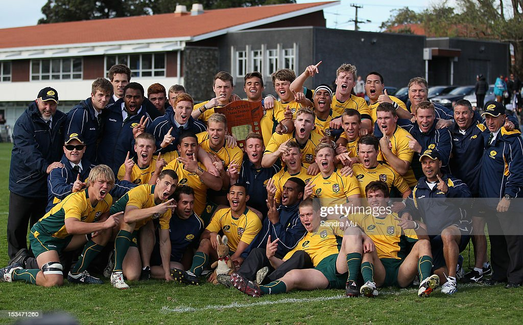 Australia celebrate their win during the Test between New Zealand Schools and Australia Schools at Auckland Grammar on October 6, 2012 in Auckland, New Zealand.