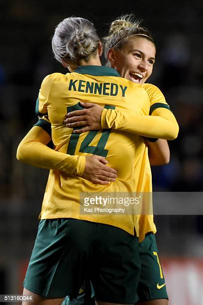 Australia celebrate their win over Japan during the AFC Women's Olympic Final Qualification Round match between Australia and Japan at Kincho Stadium...