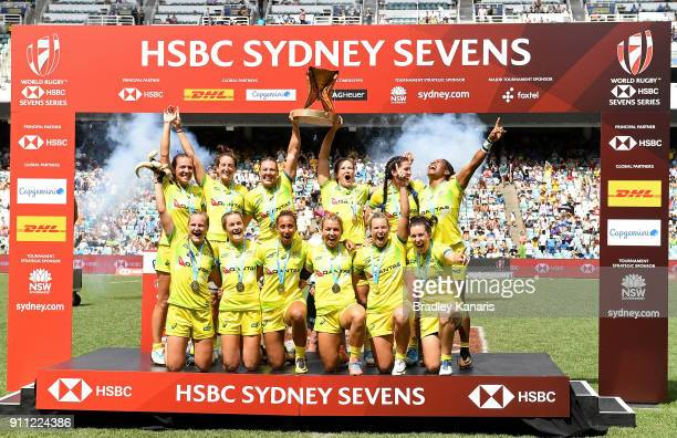 Australia celebrate victory after defeating New Zealand in the Women's Final during day three of the 2018 Sydney Sevens at Allianz Stadium on January...