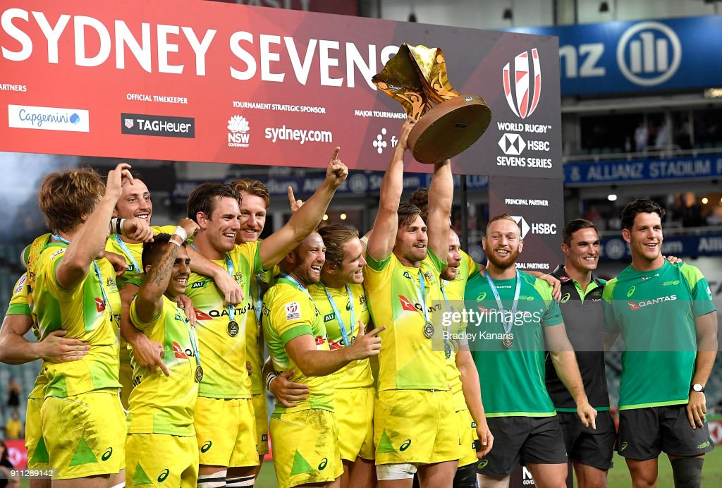 Australia celebrate victory after defeating South Africa in the MenÕs final match during day three of the 2018 Sydney Sevens at Allianz Stadium on January 28, 2018 in Sydney, Australia.