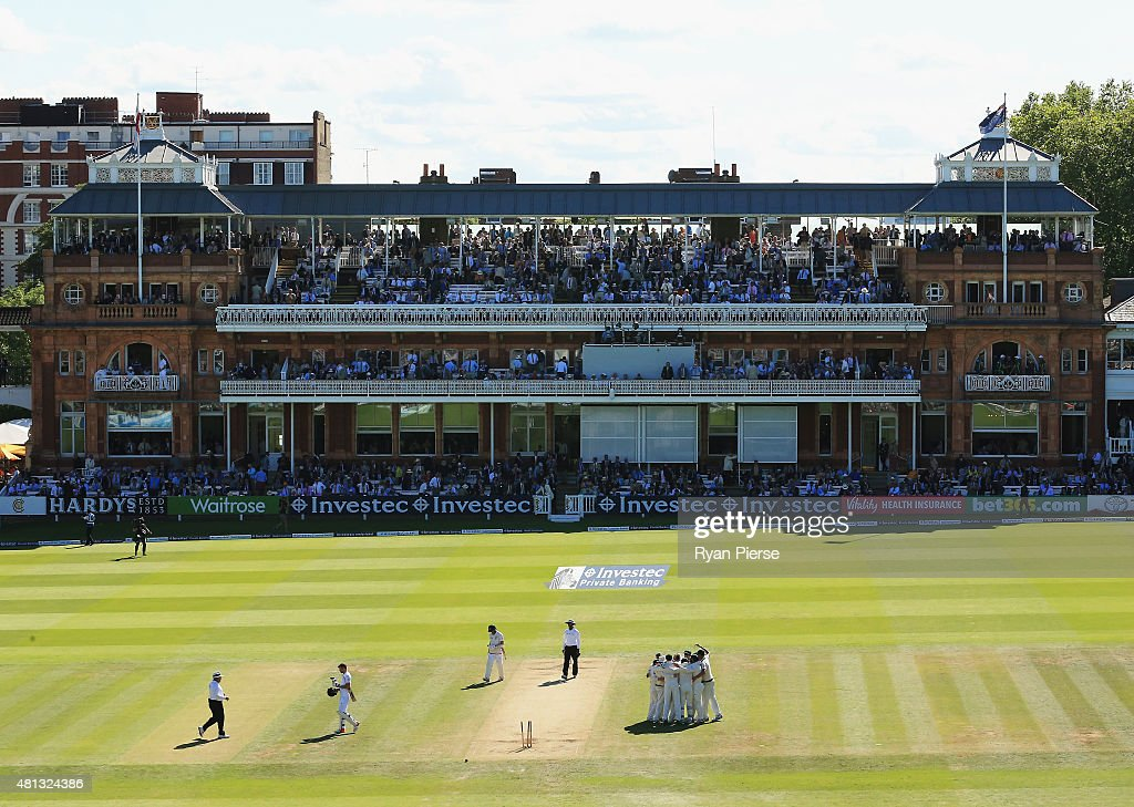Australia celebrate victory during day four of the 2nd Investec Ashes Test match between England and Australia at Lord's Cricket Ground on July 19, 2015 in London, United Kingdom.