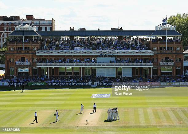 Australia celebrate victory during day four of the 2nd Investec Ashes Test match between England and Australia at Lord's Cricket Ground on July 19...