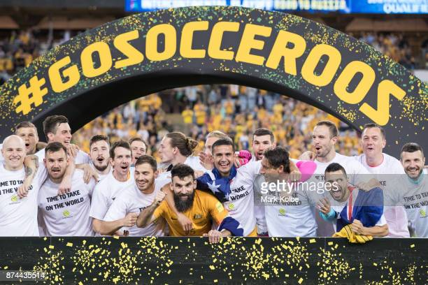 Australia celebrate victory during the 2018 FIFA World Cup Qualifiers Leg 2 match between the Australian Socceroos and Honduras at ANZ Stadium on...