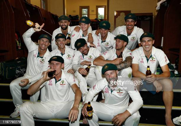 Australia celebrate victory in the change rooms after day four of the Third Test Match in the series between Australia and New Zealand at Sydney...