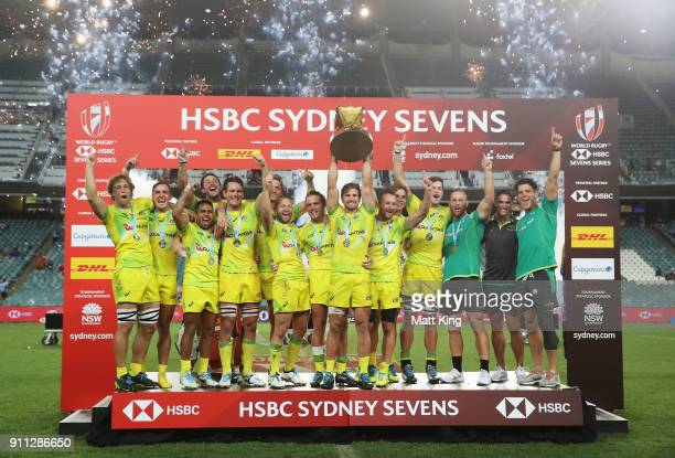 Australia celebrate victory in the Men's final match after defeating South Africa during day three of the 2018 Sydney Sevens at Allianz Stadium on...