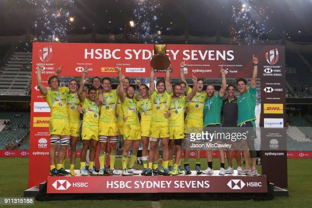 Australia celebrate victory in the Men's final match after defeating South Africa during day three of the HSBC Sydney Sevens at Allianz Stadium on...