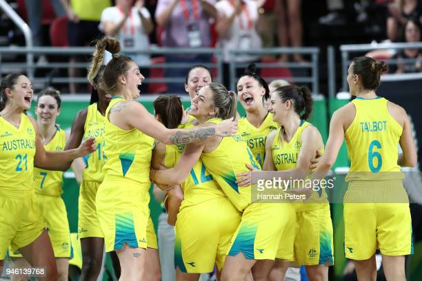 Australia celebrate victory in the Women's Gold Medal Game on day 10 of the Gold Coast 2018 Commonwealth Games at Gold Coast Convention Centre on...