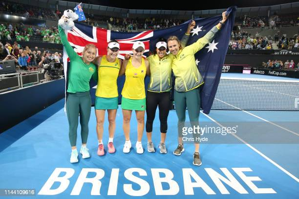 Australia celebrate winning against Belarus during the Fed Cup World Group Semi Final Australia v Belarus at Pat Rafter Arena on April 21 2019 in...