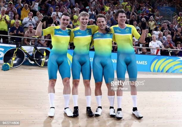 Australia celebrate winning gold in the Men's 4000m Team Pursuit Final during the Cycling on day one of the Gold Coast 2018 Commonwealth Games at...
