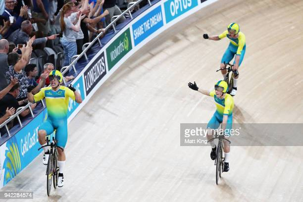Australia celebrate winning gold in the Men's 4000m Team Pursuit Final during the Track Cycling on day one of the Gold Coast 2018 Commonwealth Games...