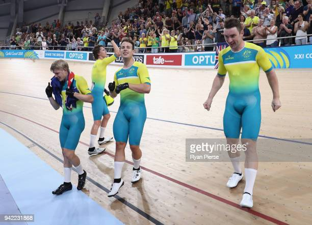 Australia celebrate winning gold in the Men's 4000m Team Pursuit Gold Final during the Cycling on day one of the Gold Coast 2018 Commonwealth Games...