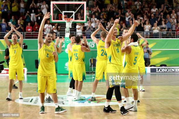 Australia celebrate winning gold in the Men's Gold Medal Basketball Game between Australia and Canada on day 11 of the Gold Coast 2018 Commonwealth...