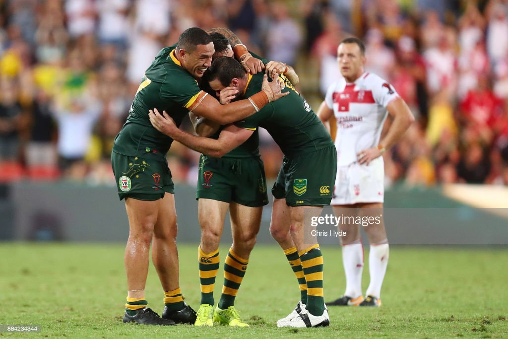 Australia celebrate winning the 2017 Rugby League World Cup Final between the Australian Kangaroos and England at Suncorp Stadium on December 2, 2017 in Brisbane, Australia.