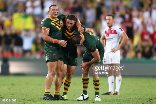 Australia celebrate winning the 2017 Rugby League World Cup Final between the Australian Kangaroos and England at Suncorp Stadium on December 2 2017...