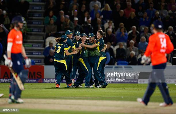 Australia celebrate winning the Ashes during the 2nd NatWest T20 of the Women's Ashes Series between England and Australia Women at...