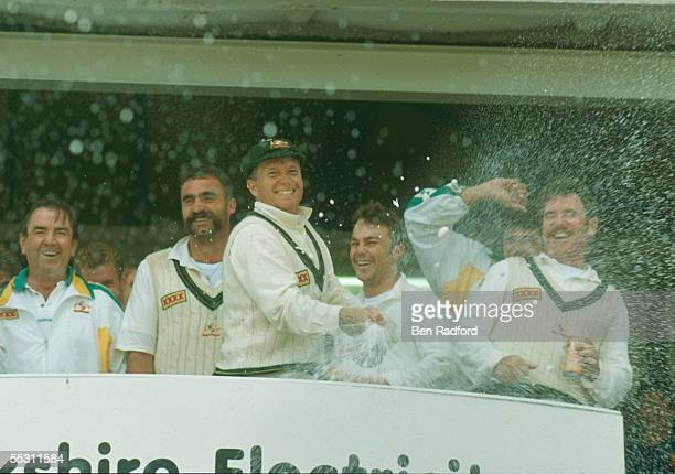 Australia celebrate winning the Ashes during the Fourth Test Match between England and Australia held on July 26 1993 at Headingley in Leeds England