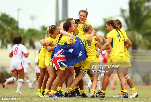 Australia celebrate winning the gold medal at full time during the Rugby Sevens Girls Gold Medal match between Australia and Canada on day 4 of the...