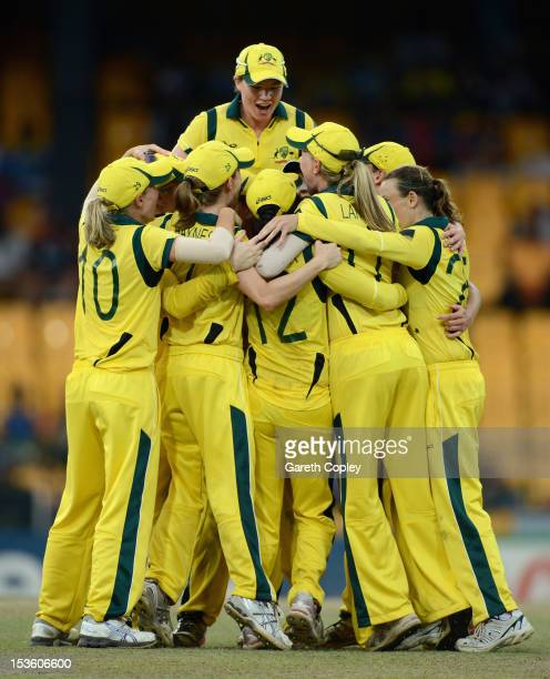 Australia celebrate winning the ICC Women's World Twenty20 2012 Final between Australia and England at R Premadasa Stadium on October 7 2012 in...