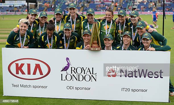 Australia celebrate winning the Women's Ashes after the 3rd NatWest T20 of the Women's Ashes Series between England and Australia Women at SWALEC...