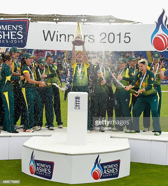 Australia celebrate with the ashes after the 3rd NatWest T20 of the Women's Ashes Series between England and Australia Women at SWALEC Stadium on...