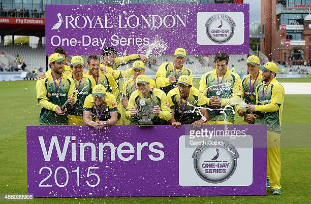 Australia celebrate with the Royal London Series trophy after winning the 5th Royal London OneDay International match between England and Australia...