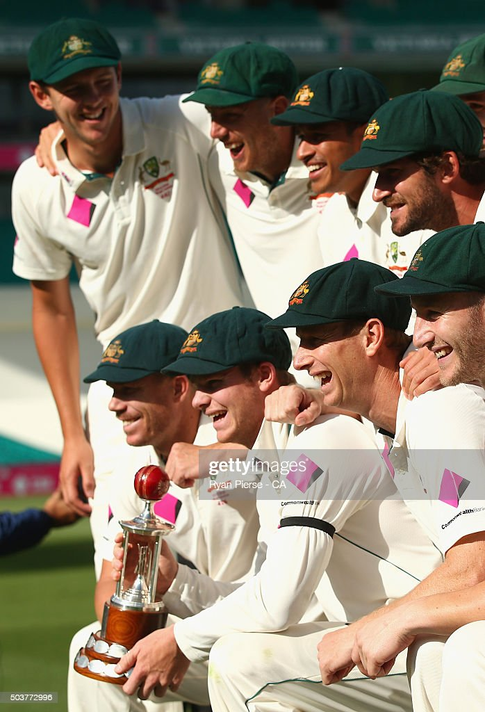 Australia celebrate with the series trophy during day five of the third Test match between Australia and the West Indies at Sydney Cricket Ground on January 7, 2016 in Sydney, Australia.