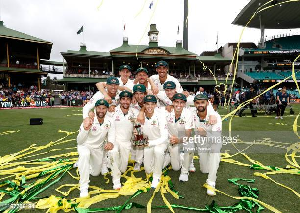 Australia celebrate with the Trans Tasman Trophy during day four of the Third Test Match in the series between Australia and New Zealand at Sydney...