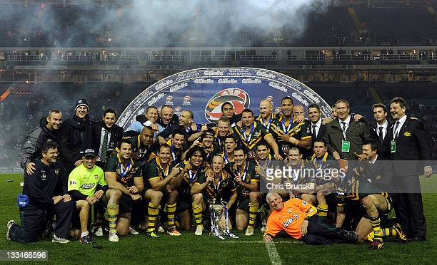 Australia celebrate with the trophy following the Four Nations Final between England and Australia at Elland Road on November 19 2011 in Leeds United...
