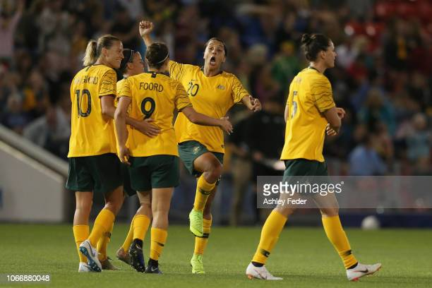 Australia celebrates a goal by Caitlin Foord during the International Women's Friendly match between the Australian Matildas and Chile at McDonald...