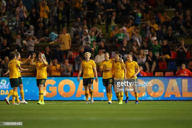 Australia celebrates a goal during the International Women's Friendly match between the Australian Matildas and Chile at McDonald Jones Stadium on...