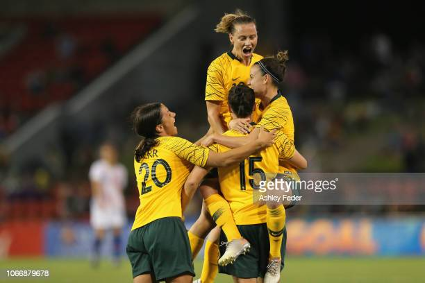 Australia celebrates a goal from Caitlin Foord during the International Women's Friendly match between the Australian Matildas and Chile at McDonald...