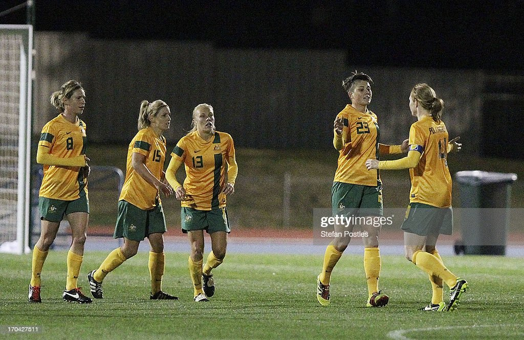 Australia celebrates after Michelle Heyman scored a goal during game one of the Women's International Series between the Australian Matildas and the New Zealand Football Ferns at AIS on June 13, 2013 in Canberra, Australia.