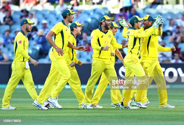 Australia celebrates after taking the wicket of Aiden Markram of South Africa run out during game two of the One Day International series between...