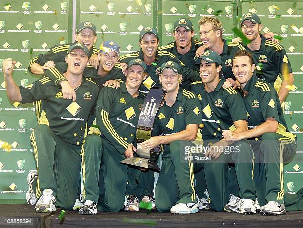 Australia celebrates after winning the series of the Commonwealth Bank One Day International 61 between Australia and England at WACA on February 6...